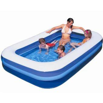 Harga Bestway 2.01 Meter 54005 Large Inflatable Swimming Pools 2 Layers (Blue with White top)