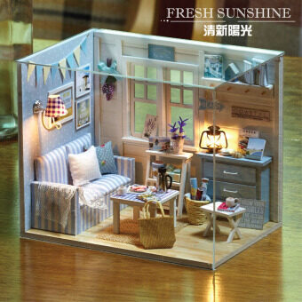 Harga DIY Miniature Dollhouse - Fresh Sunshine (Living Room) with Cover