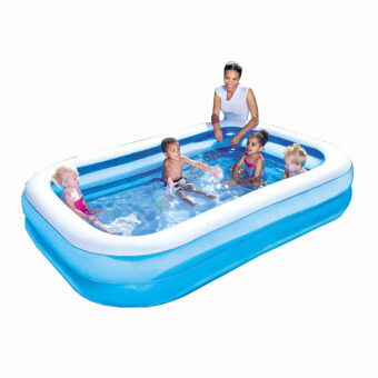 Harga Bestway 2.01 Meter 54005 Large Inflatable Swimming Pools 2 Layers [bc93] - (Blue with White top)