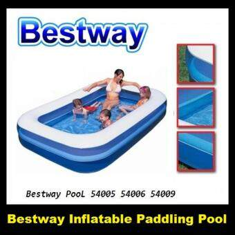 Harga BESTWAY INFLATABLE PADDLING POOL 54006 Family Size with Electric Air Pump