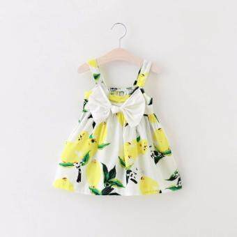 Harga Baby Girls Lemon Dress Embroidered Lemon Floral with Bowknot (Yellow)
