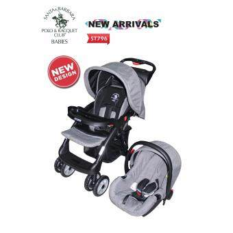 Harga Santa Barbara Stroller Travelling System ST796 (Grey) with Simple One-Hand Fold Chassis