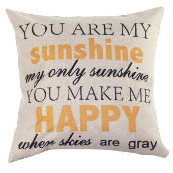 Harga Home Cotton Linen Letter Sunshine Throw Sofa Pillow Case Car Cushion Cover (White)