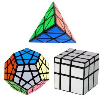 Harga YKL 3PCS Ultra-smooth Magic Cube Set : Dodecahedron Megaminx & Triangle Pyramid Pyraminx Magic Cube & 3x3x3 Profiled Mirror Magic Cube