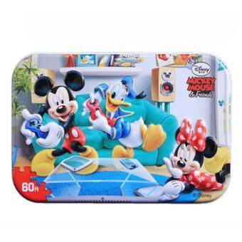 Harga Mickey Mouse Metal Box with Wood Puzzle (60pcs)