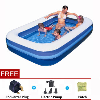 Harga Bestway 2.01 Meter 54005 Large Inflatable Swimming Pools 2 Layers [bc93] - (Blue with White top) - Premium