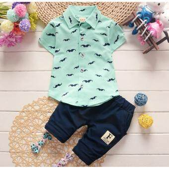 Harga Good Service Baby Boys Clothing Sets Polo Shirts Pure Cotton Moustache Printing