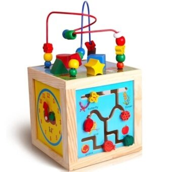 Harga Wooden Learning Cube / 5 in 1 Activity Learning Cube 5 sided