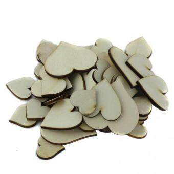 Harga MagiDeal 50Pcs Mixed Size Wooden Hearts Embellishments for Craft
