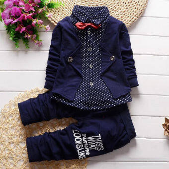 Harga Kids Baby Boys Cotton Long Sleeve Tops + Long Pants Set (Blue)