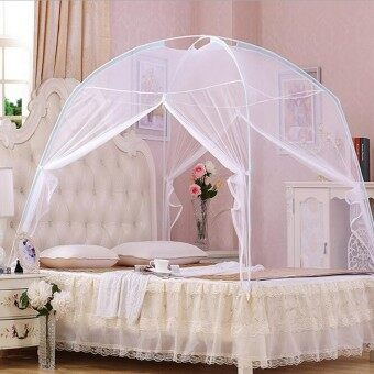 Harga ( Mosquito net)White Portable Folding Mosquito Net Tent Freestand bed Twin Queen King