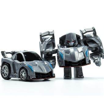 Harga Hanyu Weizhen King Kong Q Version Transformed Toys King Kong Mini Ransformer Robot Transforming Car Robot Toys-Silver