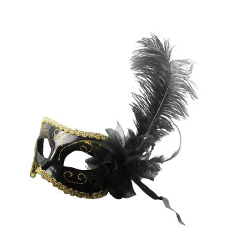 Harga BolehDeals Feather Flower Mask Masquerade Ball Party Eye Mask Venetian Eye Mask Black