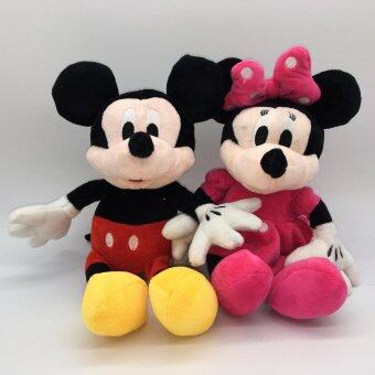 Harga 30cm Mickey Mouse And Minnie Mouse Plush Toys Stuffed Animals Christmas Doll Toy(Multicolor)(OVERSEAS)