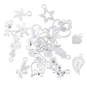 Harga MagiDeal 20pcs Assorted Style Heart DIY Charm Pendant Crafts Silver