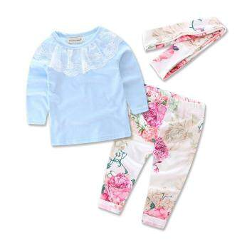 Ins 2016 froral girl Spring clothes t-shirt+Pants +headwear 3 pcspattern set of clothes newborn baby suit children clothing set