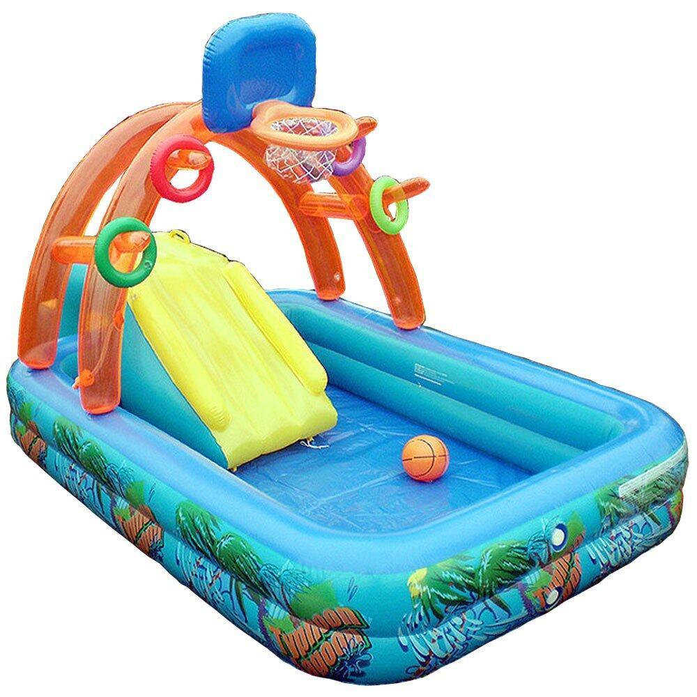 kids children inflatable splash pool slide swimming basketball play lazada malaysia