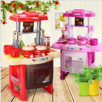 Kids Kitchen Cooking Pretend Role Toy Play Set Lights Sound Electronic    Pink