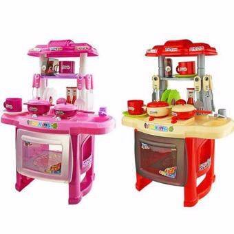 Kids Mini Kitchen Fun Playset With Full Utensils Set (Red)