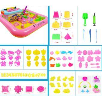 Harga Kinetic Sand Set (2kg coloured sand with 80+pcs moulds & tools,inflatable tray & pump)