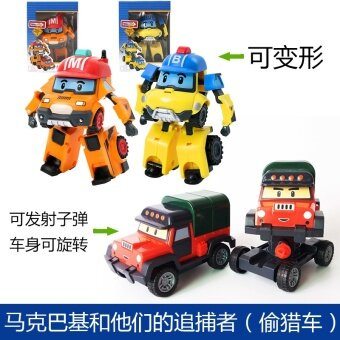 Large Deformation police car new Amber Lee Machine Man suit police wave Lee Roy fire car Anbar Sergeant toys