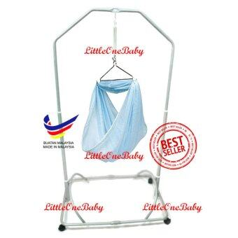 Harga LittleOneBaby Local Premium Baby Safety Spring Cot Stand(Epoxy)Side Steel Bar Support With Cradle Net (Random Color)