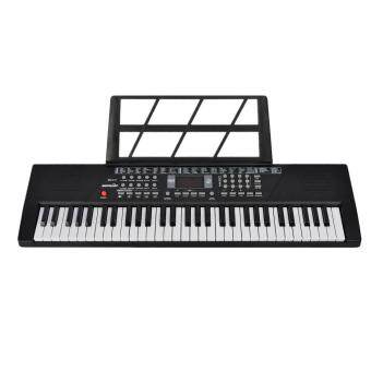 LT365 61 Key Electronic Keyboard Piano with Microphone and PianoSore Stand Musical Toy for Children BD-611 - Black
