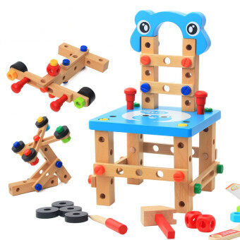 Lu Ban wooden flexible nut combination toy assembled building blocks