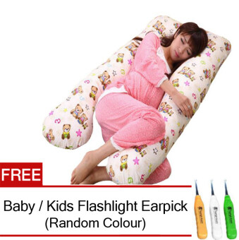 Maternity Pillow Pregnancy Support Feeding Baby U Shape Pillow(Bear Design) FREE Baby / Kids Flashlight Earpick