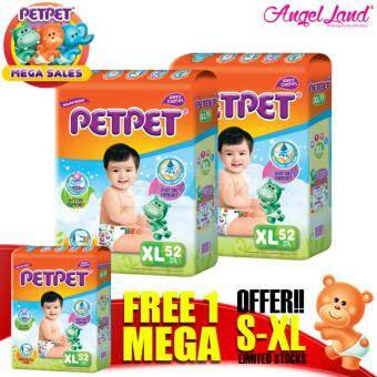 [Mega Sales Deal~2FOC1] PETPET Tape Diaper Mega Packs XL52 (3packs)