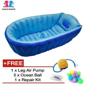 Harga MOMO House Inflatable Baby Bathtub Swimming Pool - Eco Friendly Material, Safety Design & Comfortable (Blue)