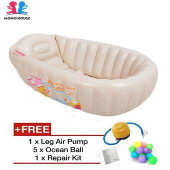 Harga MOMO House [Promotion] Inflatable Baby Bathtub Swimming Pool - Eco Friendly Material, Safety Design & Comfortable (Beige)