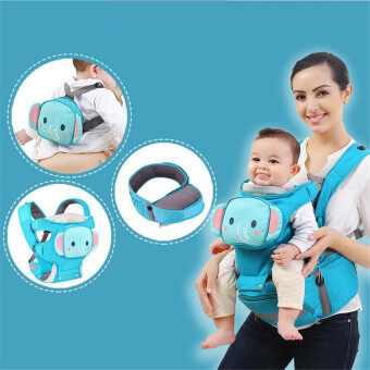 Harga Multifunctional 4-in-1 Baby Carrier Baby Sling with Hip SeatCartoon Baby Backpack High Quality(Elephant)