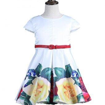 New cute girls formal fashionable dresses Summer Party BirthdayFlower Girl Dress kids party dress floral printed - 2