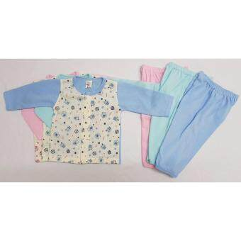 Harga Newborn Baby clothes Infant Baby 3 piece suit 0-6 m Long Sleeve +Pants Printed with Rabbit & Bear - JK Kids