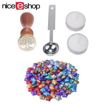 niceEshop 100 Ps European Retro Star Shape Sealing Wax With 1 Piece Wax Melting Spoon, 1 Piece Sealing Wax Stamp And 2 Pieces Wax