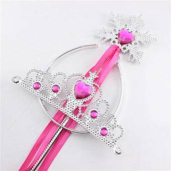 Princess Dress Up Accessories Tiara Crown and Snowflake Wand SetChildren Cosplay Accessories