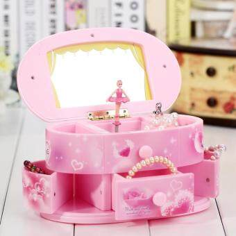 Harga Rotating Music Box Mirror Ballet Jewelry Music Box Fashion JewelryMusic Boxes Birthday Gift Baby Present Pink
