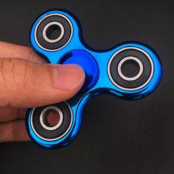 SellinCost High Grade Fidget Spinner 2-4 mins Tri Hand TW Roller Fun Toy Anti Stress Toys Focus Anxiety Relief Spinning (Platted Shiny Metallic Blue)