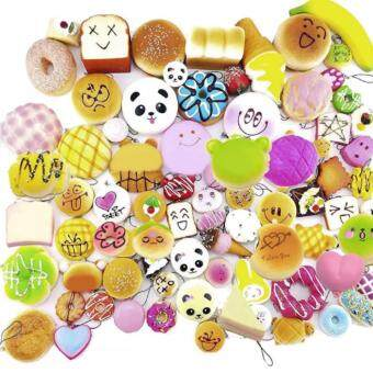 Set of 10 Random Squishy Charms Slow Rising Cute Jumbo Toys with Phone Straps Multicolor
