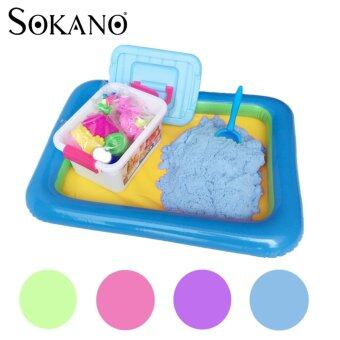 Harga SOKANO 2kg Coloured Kinetic Sand With Container, Molds AndInflatable Tray-Blue