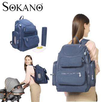 SOKANO MB2001 Unisex Daddy Bag Mummy Bag Large Capacity Multifunctional Diaper Bag Backpack - Blue