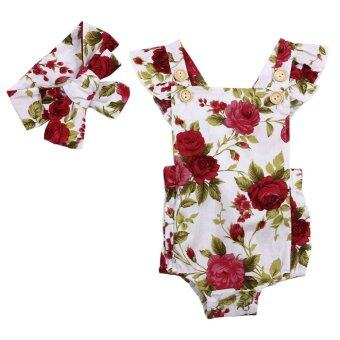 Harga Summer Baby Girl Cute Floral Printed Halter Sleeveless Romper +Headband Outfits