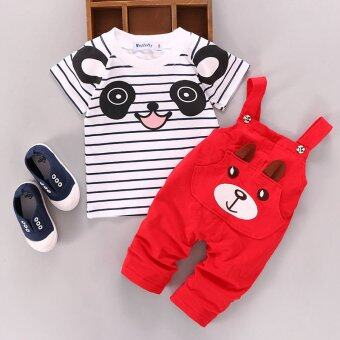 Toddler Kids Baby Boys Girls Outfits Clothes T-shirt Tops + BracesLong Pants 2pcs Set