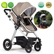 Toddler Stroller Folding Convertible Carriage Infant Anti-Shock High View Luxury Baby Stroller Newborn Pram Stroller Pushchair Stroller for Babies Light Camel