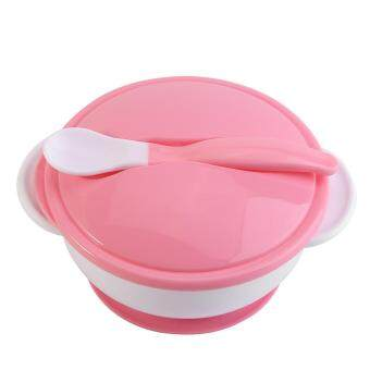 Toddler Suction Cup Bowl With Spoon Baby Food Feeding Tableware(#1 White Spoon+Pink Bowl)
