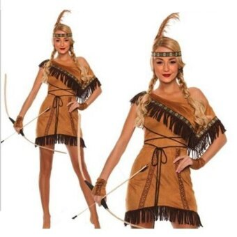 Woman Native American Indian Princess Fancy Dress Cosplay CostumeSuit M