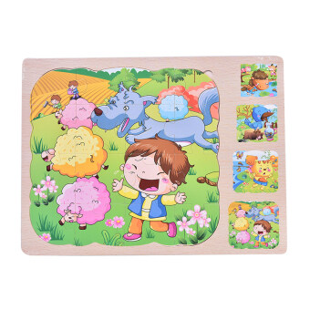 Wooden Multilayer Puzzles 3 layer Jigsaw Children Kids EducationalToys - 4