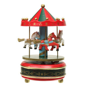 Harga Wooden + Plastic Merry-Go-Round Carousel Music Box ChristmasBirthday Gift Toy