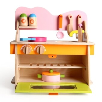 Wooden Simulation Kitchenette Baby Pretend Play Toys Assemble ToysGift Kitchen Pretend Play